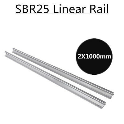 Sbr25-1000mm Linear Rail Fully Supported Slide Rods Rail Shaft Rod Motion 2pcs