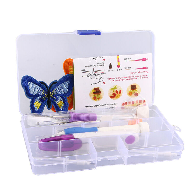Magic DIY Embroidery Knitting Sewing Tool Kit Punch Needle W/ Butterfly Pattern