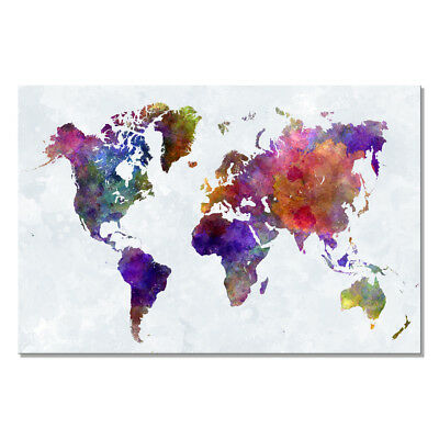 Canvas Print Painting Picture Home Office Decor Wall Art Colorful World Map Big