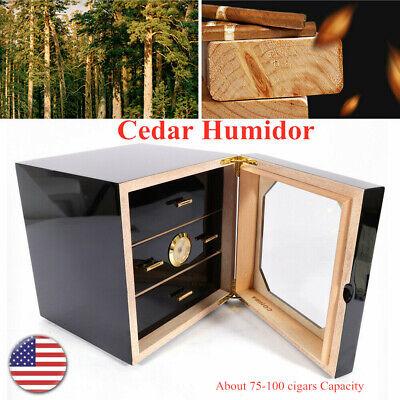 Large Capacity Wood 3 Drawer Cigar Humidor Cabinet Box w/ Humidifier Hygrometer