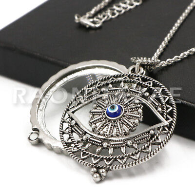 Hamsa Evil Eye Silver 5X Magnifying Glass Pendant Necklace Long Chain - Glass Evil Eye Necklace
