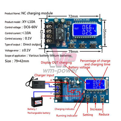 10/30A LCD Display 6-60V Lithium Battery Charge Protection NC Control Module