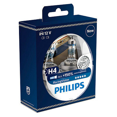 2 Stk Philips H4 Racing Vision Rally Lampe 12342 Leuchte Auto PKW KFZ 12V Licht Boost Mobile Unlimited