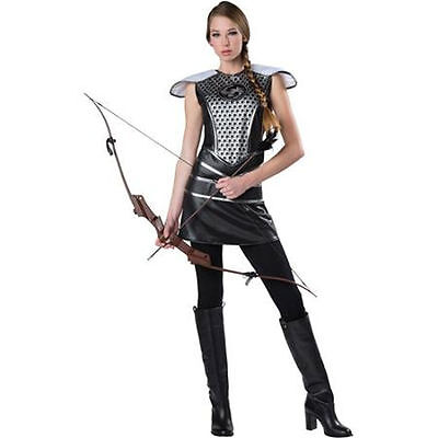 New Womans Dark Huntress Adult Dress Up Warrior Costume Hunger Games Katniss S L