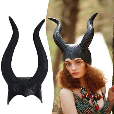 Women Genuine Large Maleficent Horns Cape Halloween Party Witch Cosplay Costume (Real Witch Costumes)