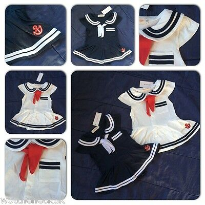 Baby Girls Cute Sailor Romper Dress Play Suit Fancy Dress Marine Navy Blue White (Baby Marine Dress Blues)