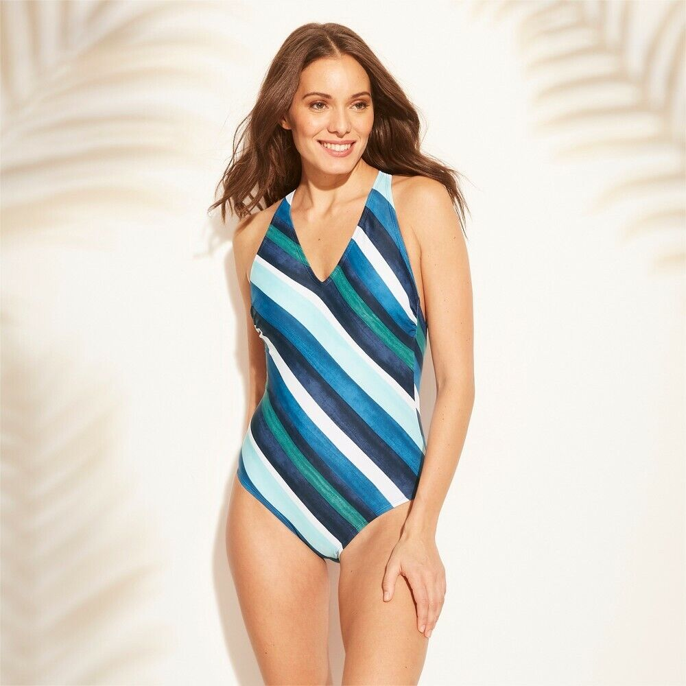 Kona Sol Women's Strappy Back One Piece Swimsuit – Blue Stripe S Clothing, Shoes & Accessories