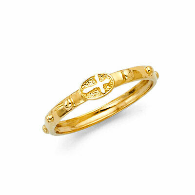 14K Real Yellow Gold Cross Catholic Finger Rosary Ring Anillo (14k Yellow Gold Rosary Ring)