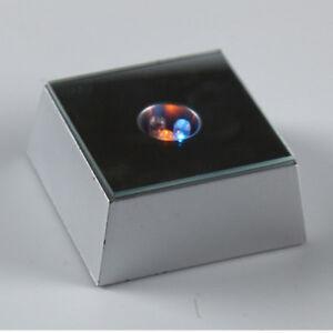3 LED Colorful Light Crystal Figurine Display Base Stand Home Decor