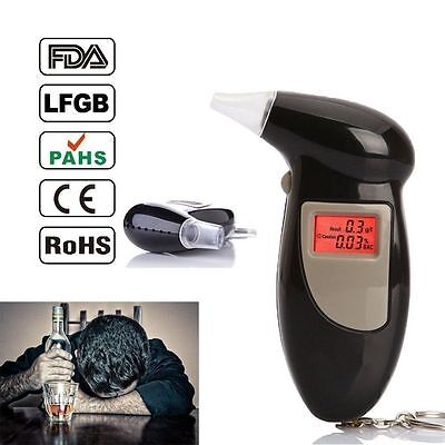 Digital LCDAlcohol Breath Tester Breathalyzer Analyzer Detector Test Keychain US