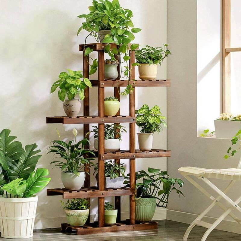 Holz Pflanzentreppe Blumentreppe Blumenregal Pflanzregal Ständer 6 Ebenen Indoor