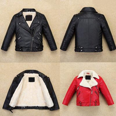 Cool Kids Boys Leather Jacket Warm Fllece Coat Biker High-Quality Fur Outerwear](Kids Boys Leather Jacket)
