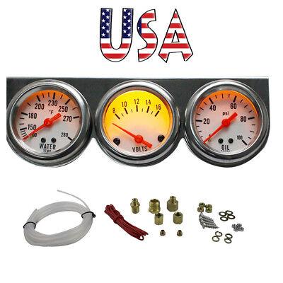 Best! Auto 50mm Chrome Oil Pressure Water Volt Triple 3 Gauge Set Kit *USA (Best Oil Pressure Gauge)