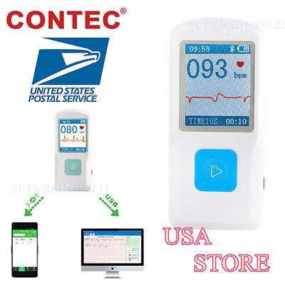 Usa New Ce Contec Pm10 Portable Ecg Ekg Machine Heart Beat Monitorbluetooth