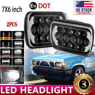 7x6 LED Headlight DRL Turn Signal Seal Beam For 1983-1997 Nissan Pickup Hardbody