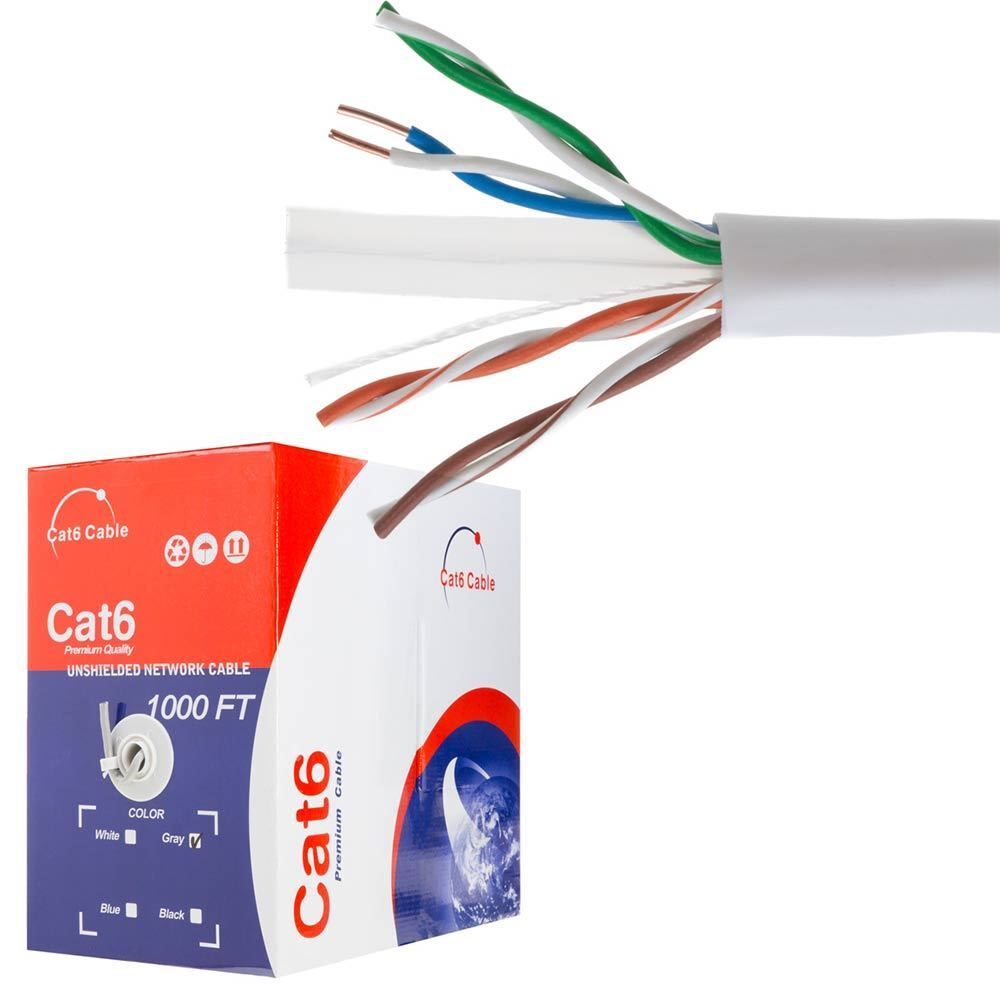 Cat5e Cat6 Cable 1000ft Utp Solid Network Ethernet Cat5 Bulk Wire Home Wiring Rj45 Lan