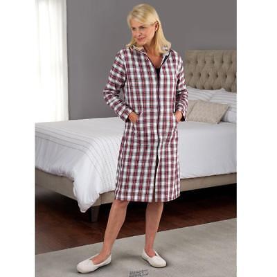 - Hammacher Magee Donegal Flannel Zip Front Robe Lounger Red Plaid Medium (51