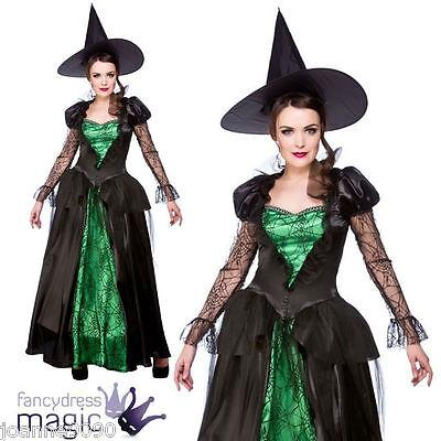 mujer Lujo Esmeralda Bruja Reina Disfraz Halloween con sombrero