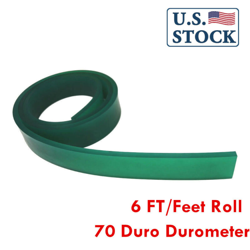 70 Duro Durometer - Silk Screen Printing Squeegee Blade 6 FT/Feet Roll GREEN