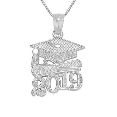 Sterling Silver 2019 GRADUATION CAP DIPLOMA Pendant/Charm, Made in USA,18