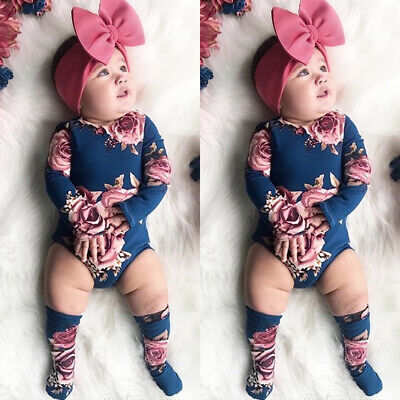 US Cute Newborn Baby Girl Flower Romper Jumpsuit+Leg Warmers 3Pcs Outfit Clothes - Leg Warmers Kit