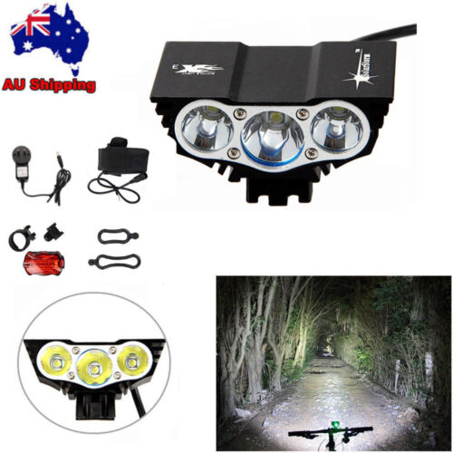 SolarStorm 15000LM 3x T6 LED Front Head Bicycle Bike Lamp Headlamp Rear light