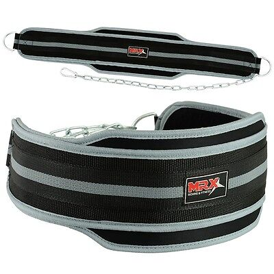 Weight Lifting Belts Gym Exercise MRX Power Dip Belt With Metal Chain Black Grey
