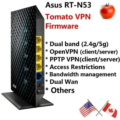 - Asus RT-N53 Dual band Wireless N600 Router with Tomato OpenVPN and PPTP VPN