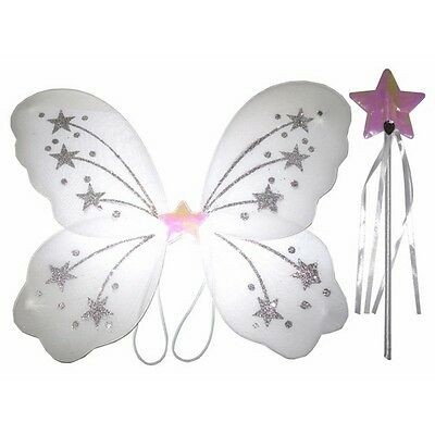 Real Fairy Costumes (Glittery Star White Fairy wing and wand set For Real)