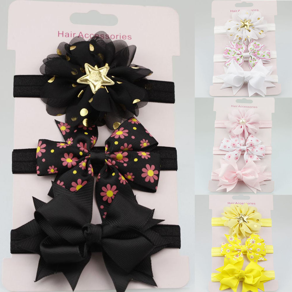 3Pcs//1Set Baby Girls Headband Hair Band Infant Toddler Flower Bow Accessories