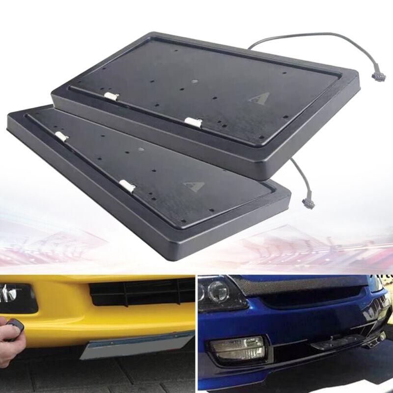 USED!2* License Plate Hide Hider Flipper Car Bracket Frame  Retractable+Remote