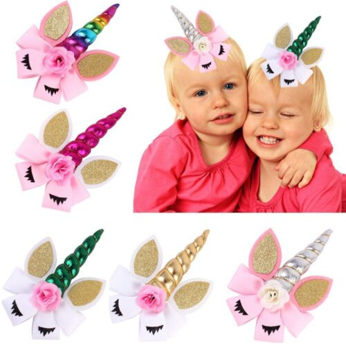 8 inch Unicorn Horn Large Girls Kids Sequin Bow Bowknot Hair Clips Accessories