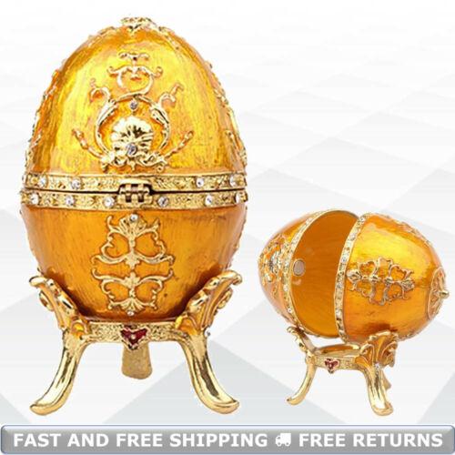 Faberge Egg Shaped Vintage Jewelry Trinket Box Enamel Bejeweled Crystal Ornament