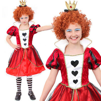 GIRLS QUEEN OF HEARTS COSTUME WONDERLAND BOOK CHARACTER FANCY DRESS CHILDS (Children's Book Character Costumes)
