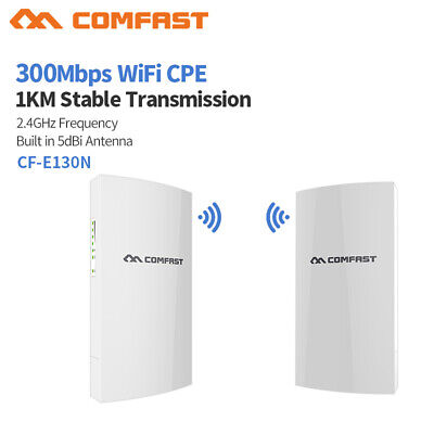Wifi Access Point Bridge (COMFAST CF-E130N 2 Stück WiFi Wireless Outdoor CPE 300 Mbps Bridge Access Router)