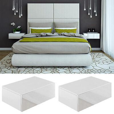2x Nachttisch Kommode Nachtschrank Schublade Ablage Schlafzimmer Weiß Hochglanz