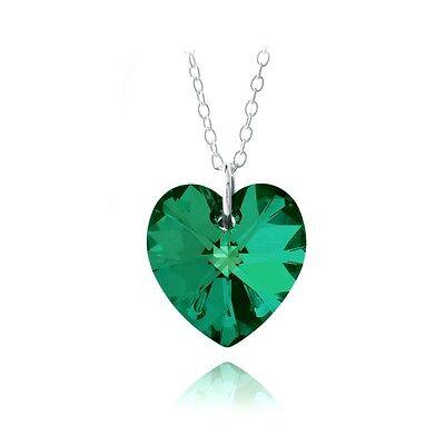 925 Silver Emerald Swarovski Elements Heart Necklace