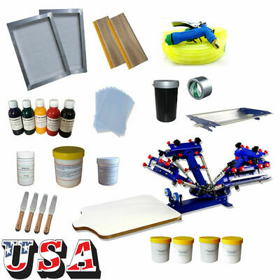 T-shirt Screen Printing Kit 4 Color 1 Station For Basic Using With Materials Kit