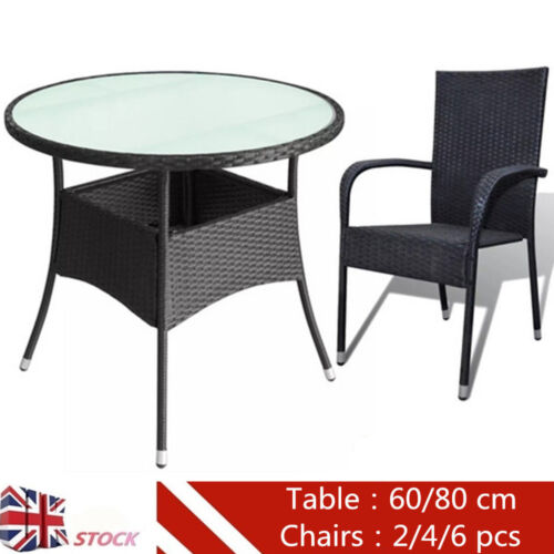 Garden Furniture - Poly Rattan Patio Table with 2/4/6 pcs Chairs Garden Furniture Set Black Outdoor
