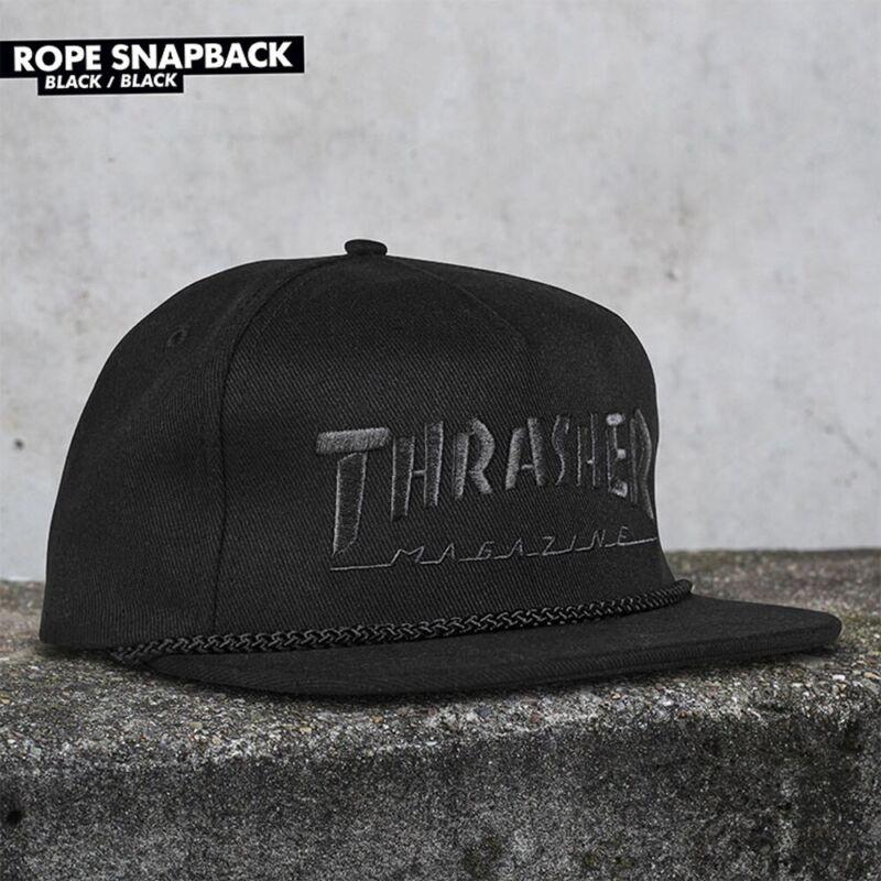 Thrasher Magazine SKATE MAG ROPE UNSTRUCTURED Snapback Hat BLACK/BLACK