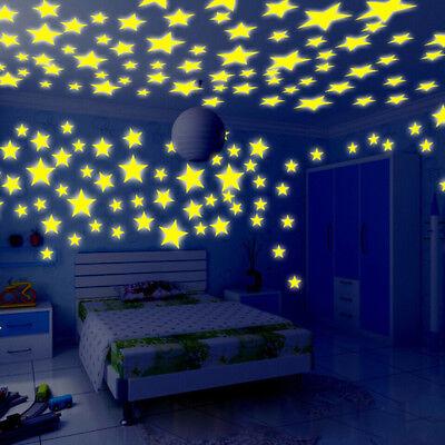 100PC Kids Bedroom Fluorescent Glow In The Dark Stars Wall Stickers 2018