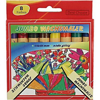 16 Stück farbige XXL Jumbo Wachsmalstifte im Set 8 Farben, wachsmalkreide
