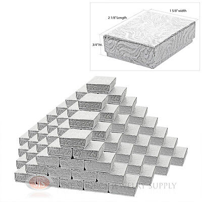 """100 Silver Swirl Cotton Filled Gift Boxes 2 1/8"""" X 1 5/8"""" Jewelry Charm Ring Box"""