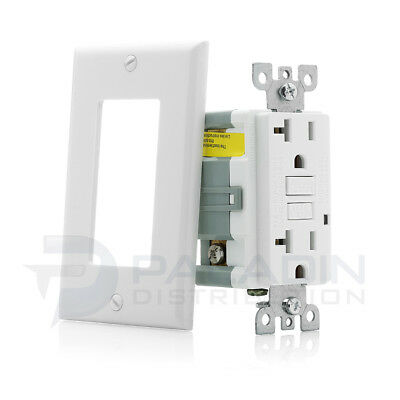 20A Gfci Receptacle Outlet W  Led   Wallplate Ul 2008   White 20 Amp  1 Pc