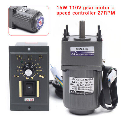 15w Ac Reversible Gear Motor Electric Variable Speed Controller 150 27rpm Fast