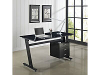 Black Baltic Tempered Glass Computer Desk PC Table 3 Drawers