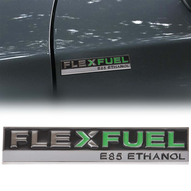 Metal Chorme Flex Fuel E85 Ethanol Car Side Fender Tail Emblem Badge Sticker