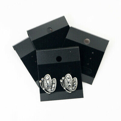 100pcs Velvet Jewelry Earring Studs Display Holder Hanging Cards Flocked Black