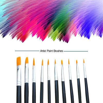 - 10pcs/1 Paint Brushes Set Nylon Brush for Oil Watercolor Artist Painting Art NEW