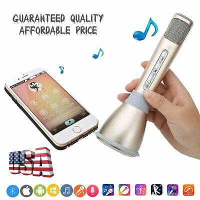 Wireless Bluetooth HandHeld Karaoke Microphone USB Speaker Mini Home KTV Gold WO